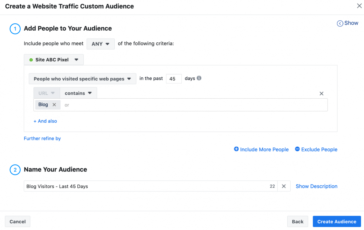 facebook ads create audience