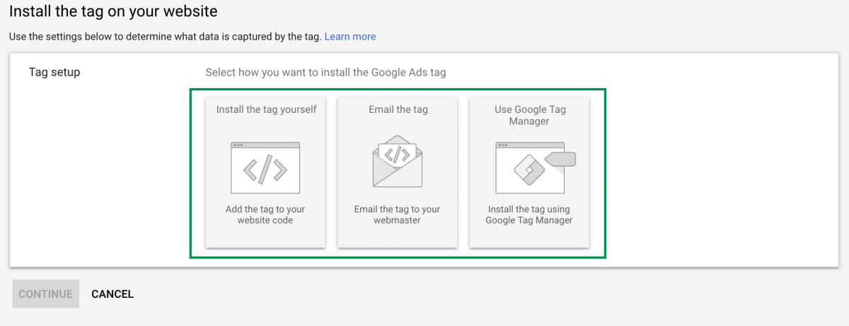 google ads - install - tag - on - website